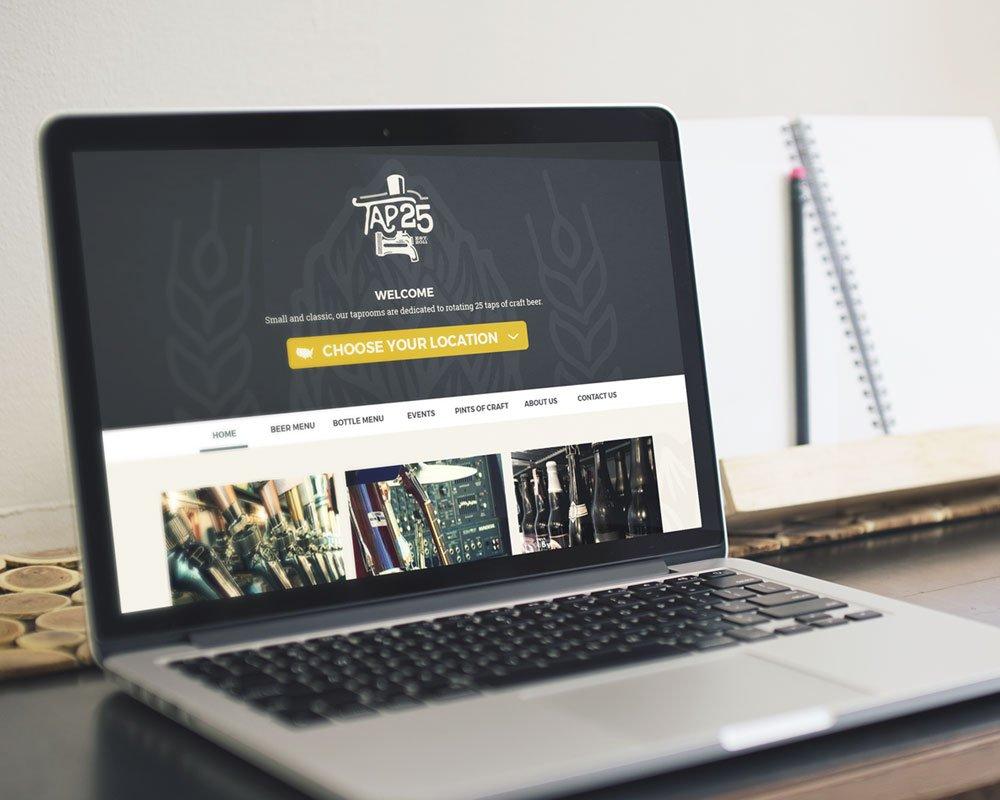 Tap 25 website screen